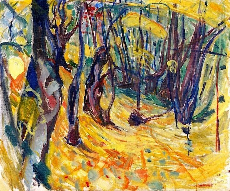 Edvard Munch (Norwegian, 1863-1944), Elm Forest in Autumn, 1919-1920, oil on canvas , 100 x 120 cm , Munch Museum, Oslo