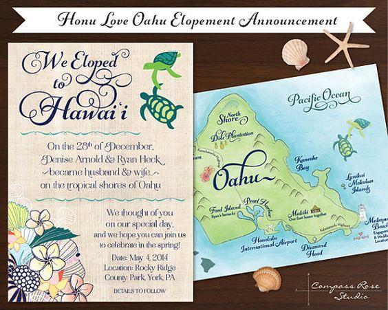 Oahu Hawaiian Elopement Wedding Invitation Custom By