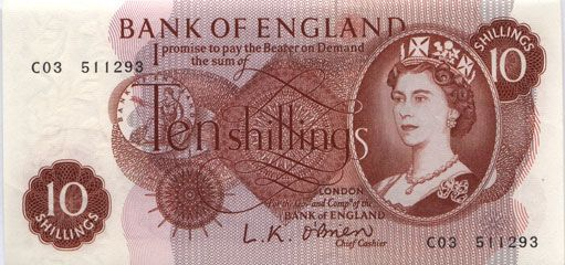 A Ten Shilling Note, designed for the Bank of England by Robert Austin, and in circulation 1961-1969. Image from the Bank's website.