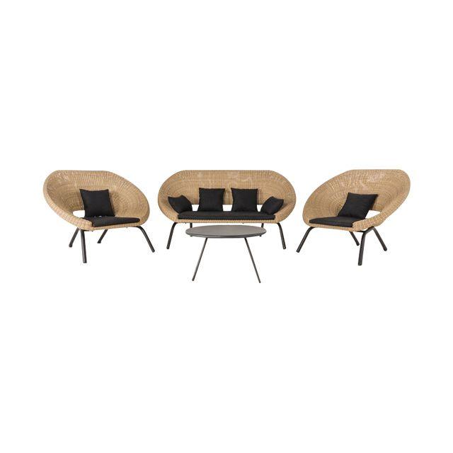 Collection Loa / Nova - CASTORAMA Ensemble de jardin (1 sofa et 2 éléments simples) + table  Dimensions du canapé : 176 x 97 x h.88 cm. Dimensions des éléments simples : 118 x 97 x h.88 cm.  Prix: 1100.00 €