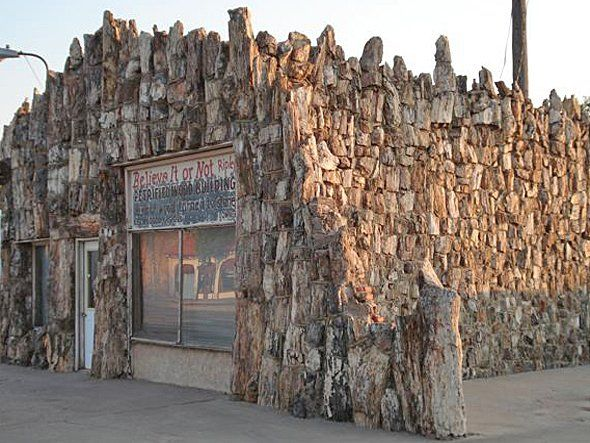 The Petrified Wood Gas Station in Decatur, TX was built in 1927 and covered in petrified wood 10 years later.