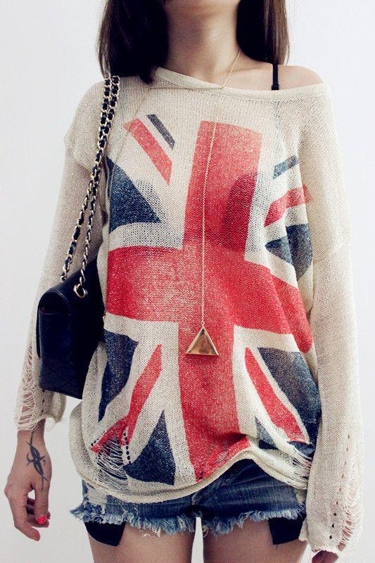 Бесплатная доставка 2013 Восток Вязание Женщины моды Wildfox Флаг Великобритании выдалбливают свободные вязание свитера Пуловеры Топы 10.29