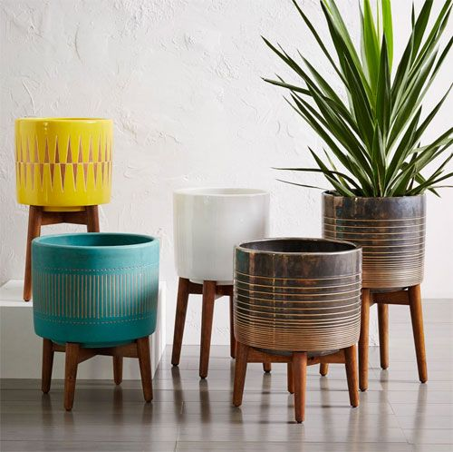 New Mid-Century Turned Leg Planters head to West Elm