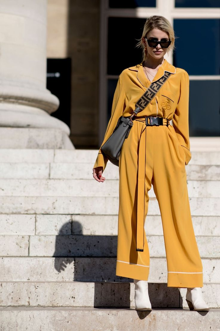 Yellow jumpsuit + white boots Street style, street fashion, best street style, …