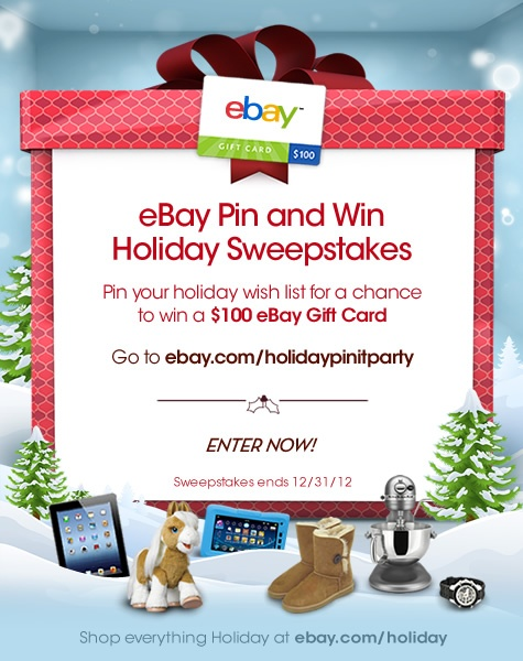 Pin your holiday wish list for a chance to win a $100 eBay Gift card! #eBayHolidayPinParty http://ebay.com/holidaypinitparty