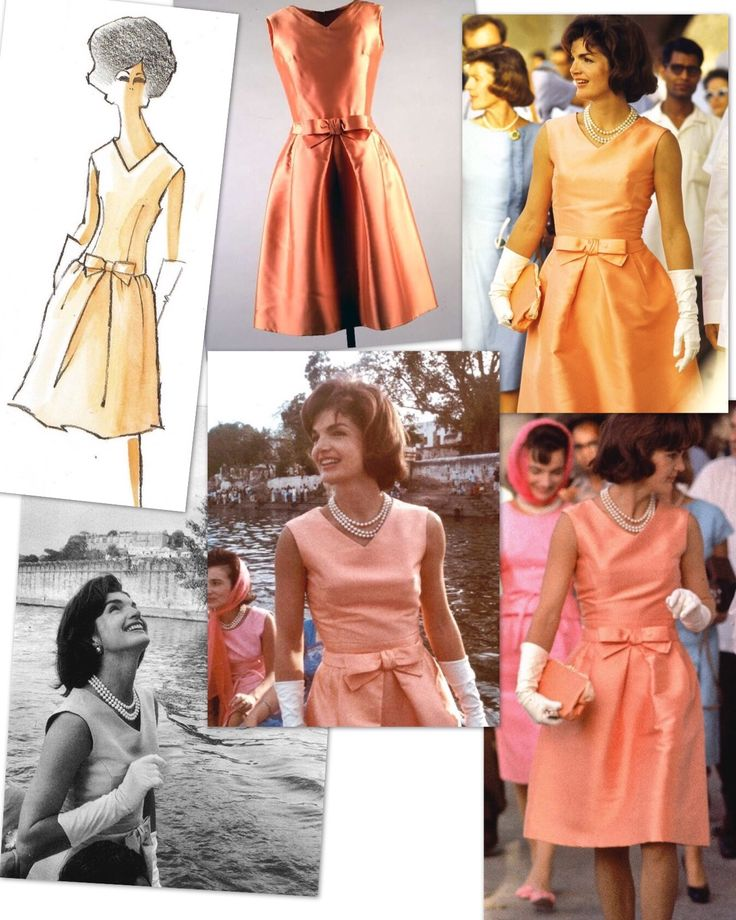 """Jackie Kennedy tours the island palace of Jag Mandir (also called the """"Lake Garden Palace"""") and goes for a boat ride on Lake Pichola during her visit to Udaipur, India on March 17, 1962. Jackie is wearing a sleeveless silk peach colored dress designed by Oleg Cassini."""