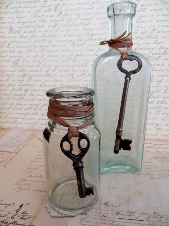 Two Antique Vintage Glass Bottles with Skeleton Keys by tuscanroad