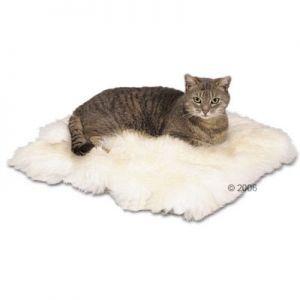 Cojín para gatos de piel de oveja  Mantiene la temperatura corporal.