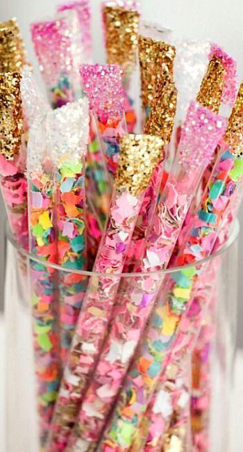 DIY confetti sticks.