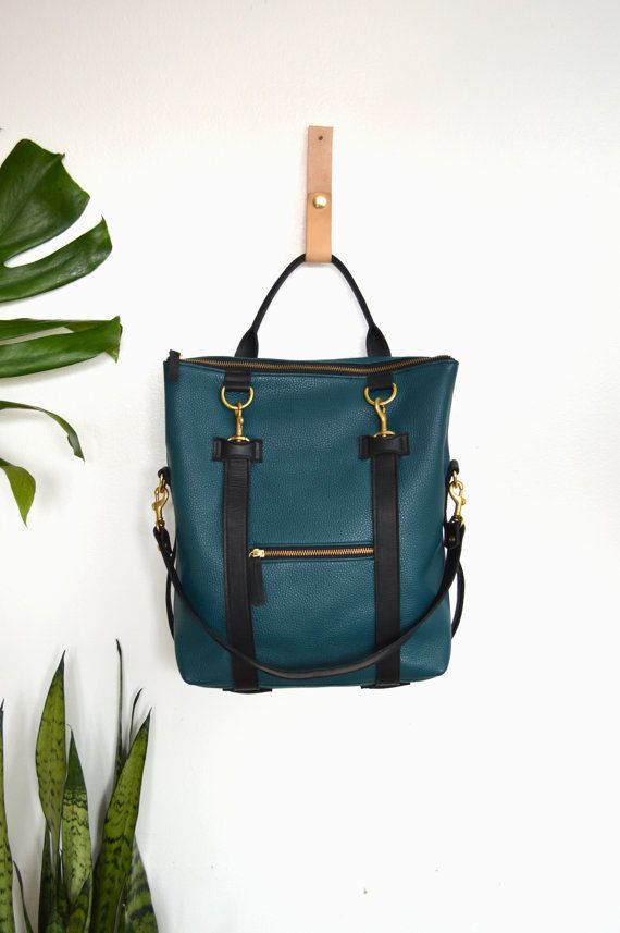 3-in-1 Blue Pebbled Leather Convertible Backpack by ARTandJILL