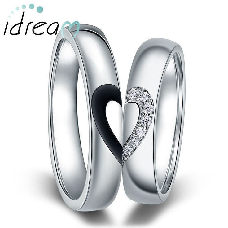 Black Baking + CZ Diamond Couple Rings for Women & Men, Two Half Hearts Puzzle Wedding Bands Set in Sterling Silver, Matching Couples Jewelry for Him and Her