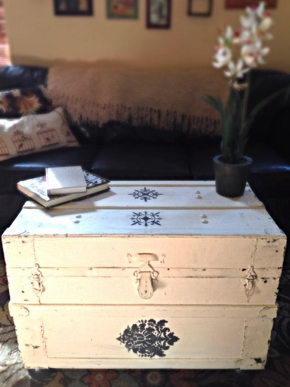 Upholstered Steamer Trunk Coffee Table By StellaBiondaDesigns, $275.00! Ha!  I Have An Old One I Can Make Look Like This For Freee.