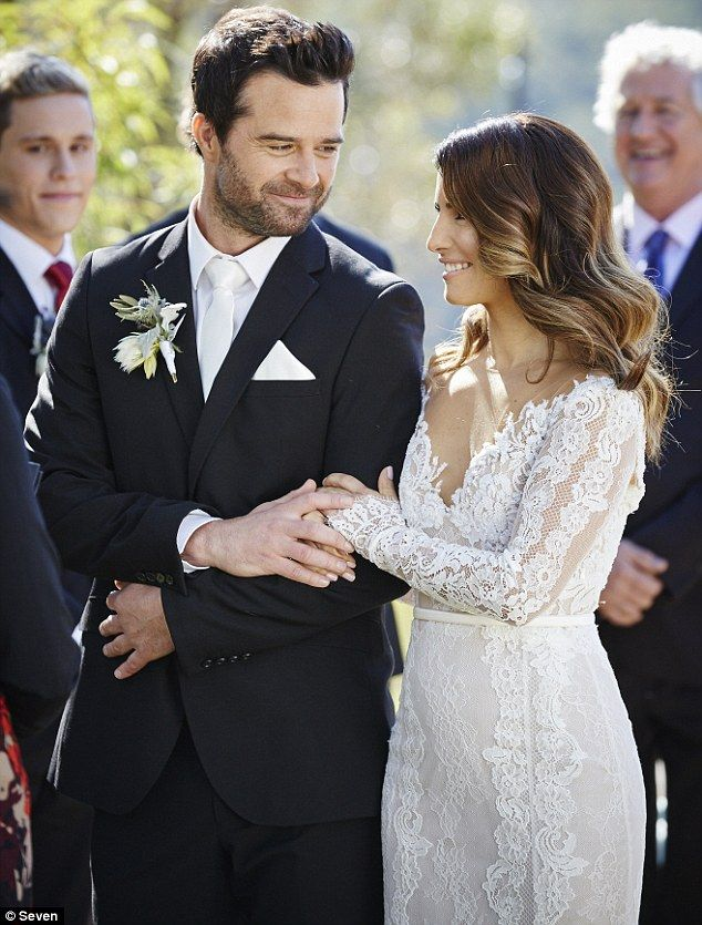 Happy couple! Ada Nicodemou's Home And Away character Leah Patterson-Baker finally ties th...