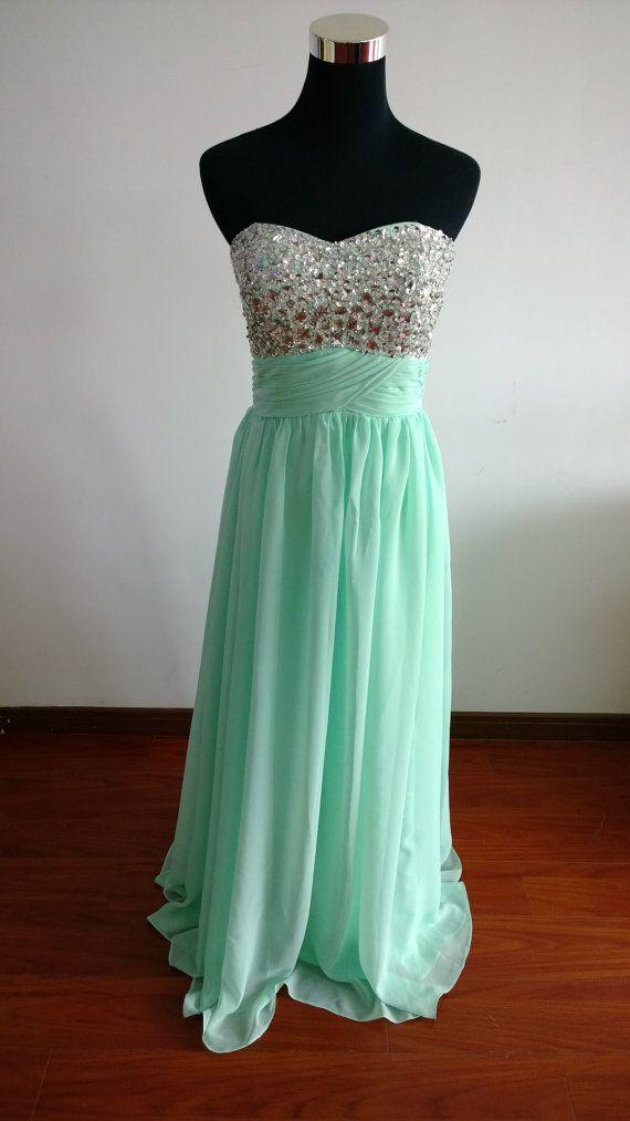 Mint Green Beading Prom Dress Long Sweetheart Prom by FDesigndress