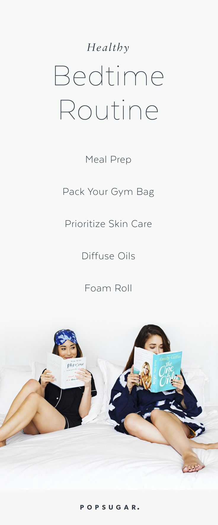 This healthy bedtime routine for women is calming, relaxing, and functional. Get ready for sleep as you wind down for your workout, and get prepared for the next morning. Add these tips into your daily schedule to help with your skin, meal prepping, and fitness — you'll be feeling your best the next day!