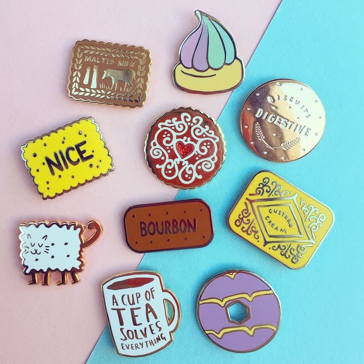 Biscuit Pin collection by Nikki McWilliams. Wear your favourite tea time treats with pride!