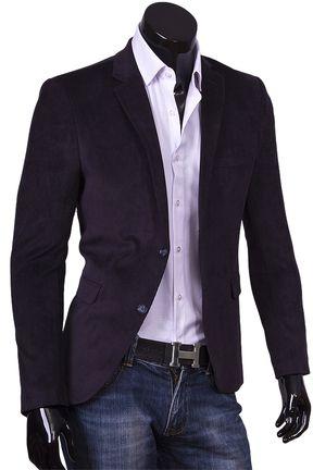 Купить Темно синий вельветовый мужской пиджак под джинсы фото недорого в Москве