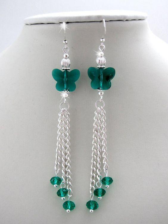 Crystal Butterfly Earrings, tassel earrings