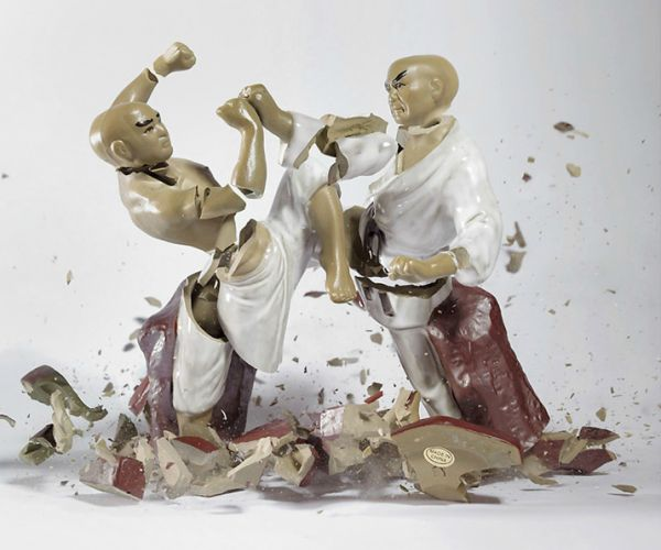 """""""From a height of three meters, porcelain figurines are dropped on the ground, and the sound they make when they hit trips the shutter release. The result: razor-sharp images of disturbing beauty—temporary sculptures made visible to the human eye by high-speed photography technology.""""- Trendland"""
