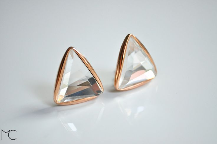 #Rose #Gold Mirrored Post Earrings de Maria Corcuera Jewelry + design sur DaWanda.com