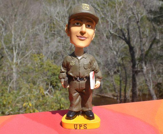 vintage 90s UPS driver bobblehead doll United Parcel by skippyhaha