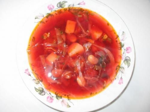 Russian soup Borsch: made with beef,cabbage,carrots,potatos,onions and beets
