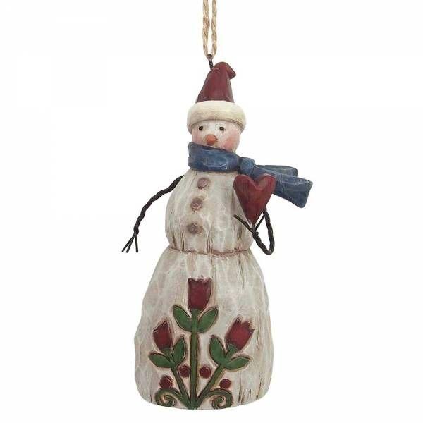 Sneeuwman uit de Folklore serie als kerstboomhanger. In zijn hand een hart. Gedecoreerd met rode tulpen. Hoogte 11 cm.