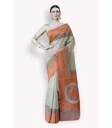 Buy Beige woven net saree with blouse banarasi-silk-saree online