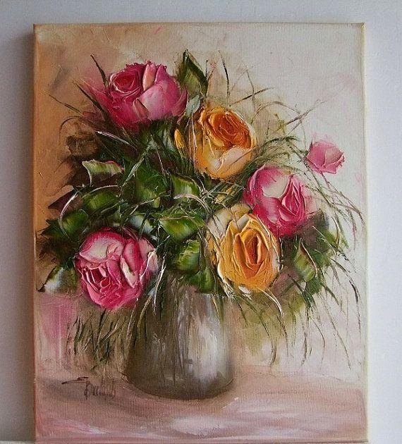Roses Original Oil Painting Impasto Still life by ArtistsUnion