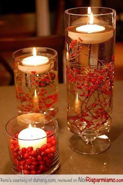 centrotavola natale facile e veloce con candele e bacche rosse