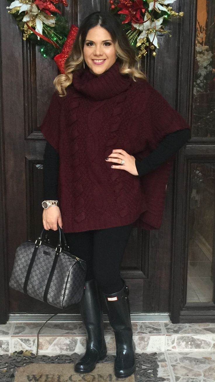 Burgundy turtleneck cable knit poncho | sweater | black leggings | black hunter boots | glossy | outfit ideas | rainy day | New Year's Eve | style | mommy style | winter | what to wear | Gucci | medium joy Boston bag | gunmetal |