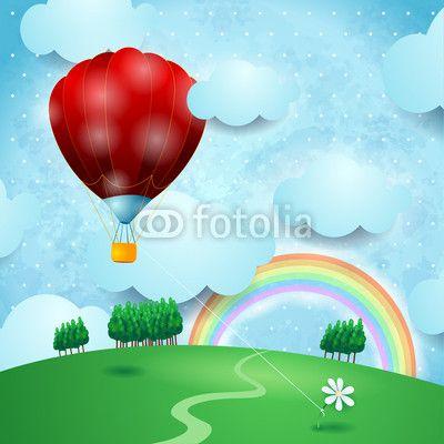 #Hot_air_balloon on fantasy landscape, #vector #stockimage