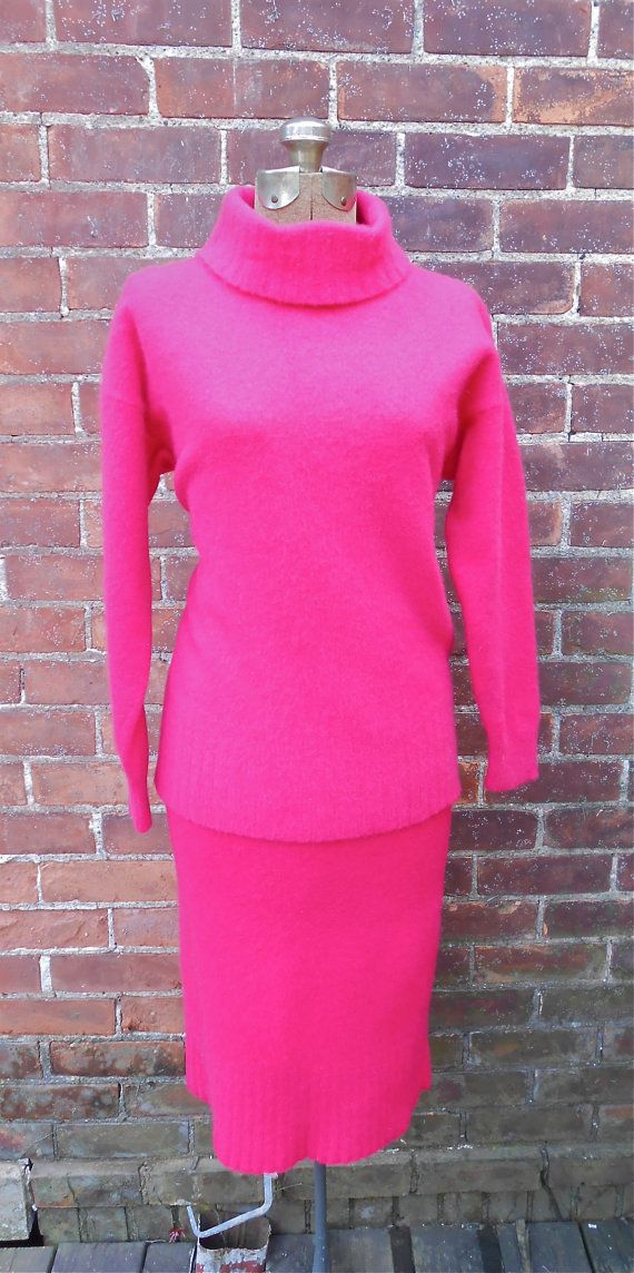 Turtleneck Dress Set in Angora and Lambs Wool by MDMvintage, $114.00