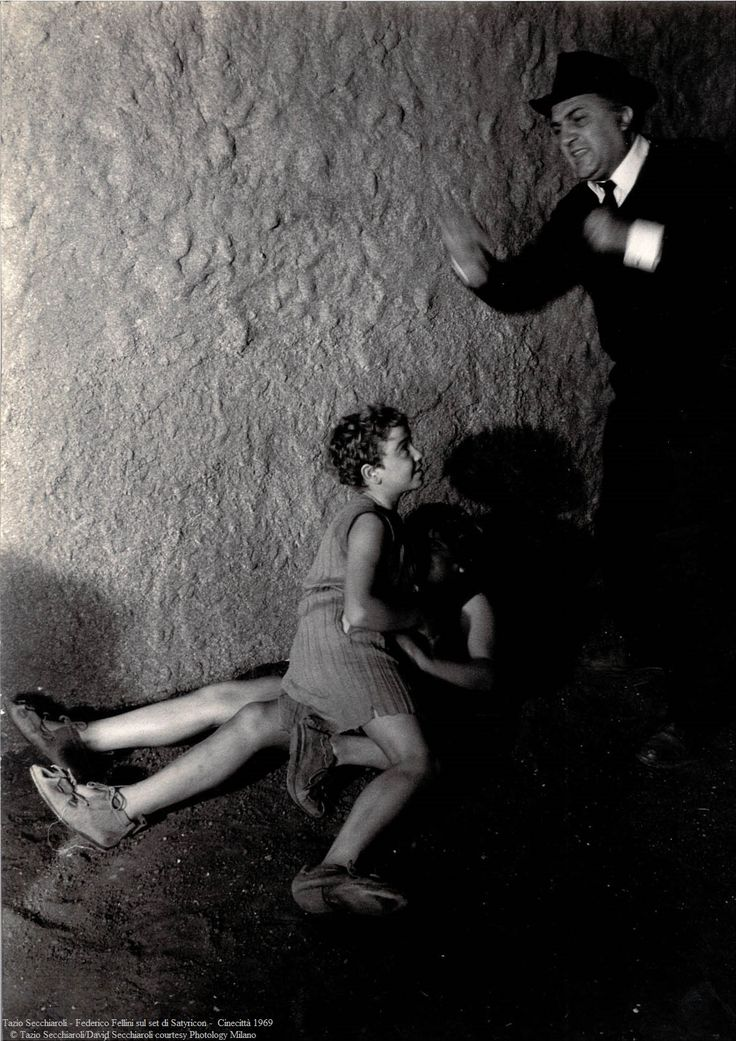 """Federico Fellini on the set of """"Satyricon"""" © Tazio Secchiaroli 1969"""