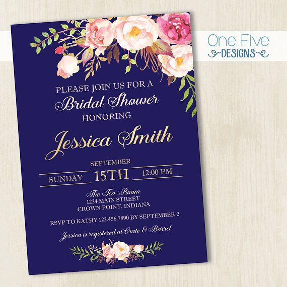 4257b1b00026 Navy Gold Pink Bridal Shower Invitation with Flowers - Printable (5x7)
