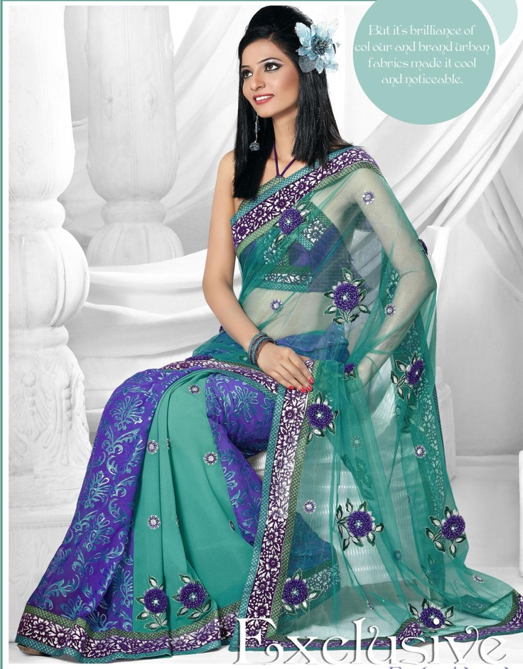 Deep Blue And Greenish Blue Brassofaux Georgette Net Saree 14423 With Unstitched Blouse
