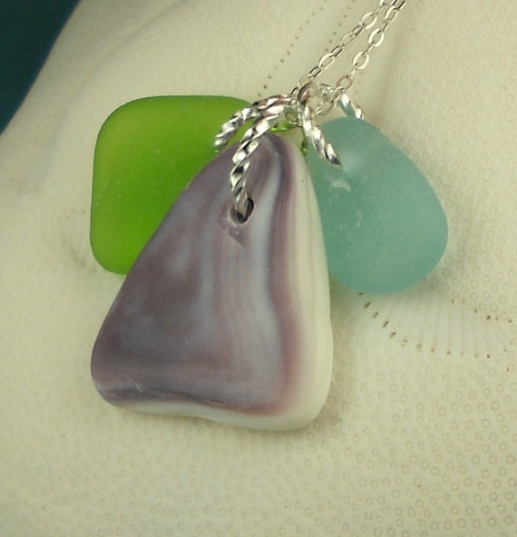Wampum Necklace With Green And Aqua Sea Glass by seaglassgems4you, $36.00