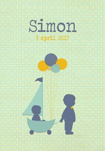 Geboortekaartje Simon - Pimpelpluis - https://www.facebook.com/pages/Pimpelpluis/188675421305550?ref=hl (#jongen - ballon - ballonnen - broer - boot - bootje - teddybeer - retro - vintage - silhouet - lief - origineel)