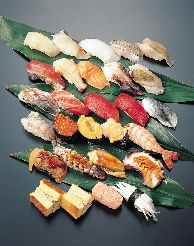Types of Sushi  Row 1: Hirame (Flounder/Halibut), Tai (Red Snapper), Ika (squid), x, x    Row 2: Saba (Mackerel), Mirugai (Giant Clam), Akagai (Red Clam), Awabi (Abalone)/Torigai (Cockle), x    Row 3: Aji (Horse Mackerel), x, Toro (Marbled Tuna), Maguro (Tuna), Kohada (Spotted Sardine)    Row 4: x, Ikura (Salmon Roe), Uni (Sea Urchin), Kobashira (Scallops), Ebi (Prawn)      Row 5: Hamaguri (Clam), Shako (Squilla), Tako (Octopus), Anago/Unagi (Sea Water/Fresh Water Eel)    Row 6: Tamago