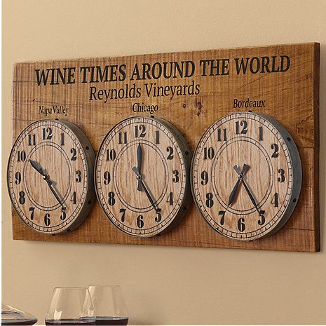Personalized Wine Times Around The World Clock at Wine Enthusiast - $399.00