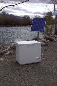 """HowStuffWorks """"The SunDanzer"""" Solar refrigerator that can run off battery rather a plug."""