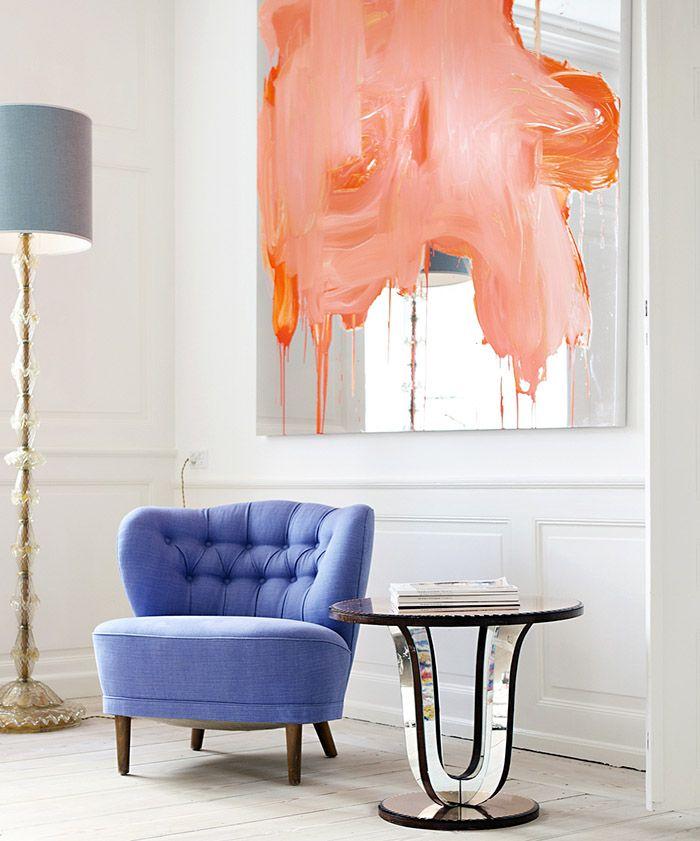 Sitting room chair, 1940′s, Sweden. Reupholstered with velvet fabric. Oak legs / The Apartment. Copenhagen
