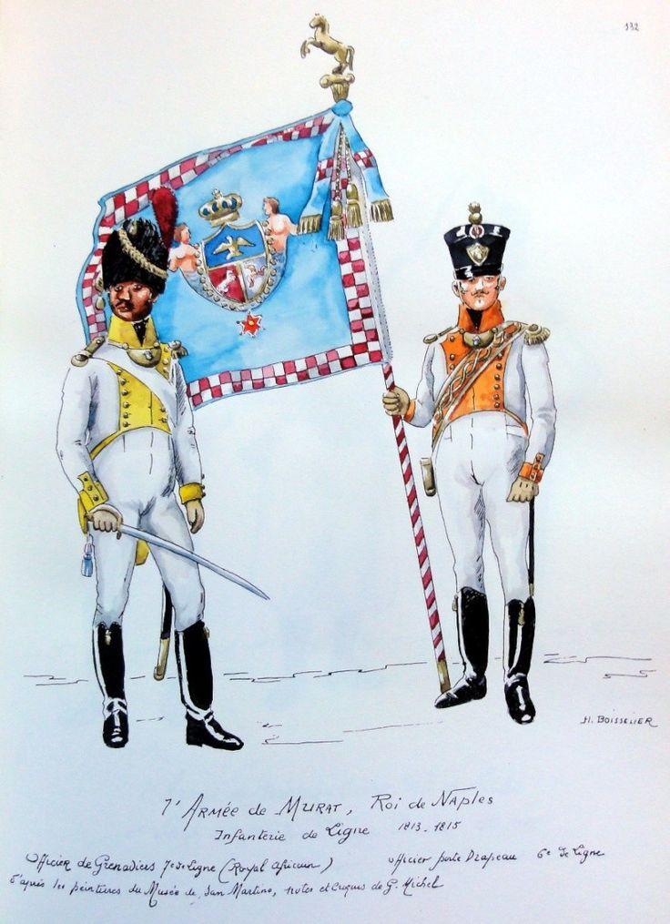 """Naples; 2e Armee. 1813-1815. 7ème Régiment d'infanterie """"Real Afrique"""" . officer des Grenadiers 'Real African"""", Porte Drapeau."""