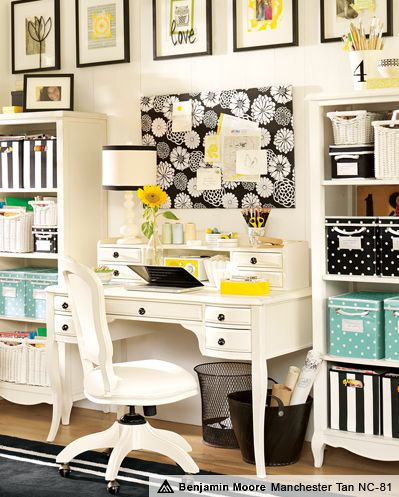White and yellow office decor. Could replace the black with cobalt blue, navy blue, or another color.
