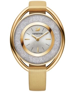 Swarovski Women's Gold-Tone Crystalline Fabric Strap Watch 43mm
