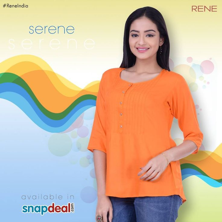 This Orange color Tops comes with Rayon Fabric, Round neck, Three Quarter Sleeves, Straight Fit. A metal button placket on the front and a pintuck stitch detail on the yoke. This beautiful creation will give you a trendy look when clubbed with contrast jeans or jeggings. Get it from #Snapdeal: http://bit.ly/29sEnRW #Tops #Women #Rayon #Rene #Reneindia