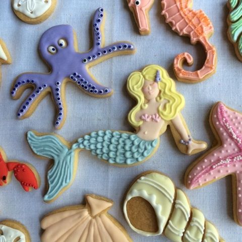Sea cookies - mermaid, octopus, shells, starfish, seahorse