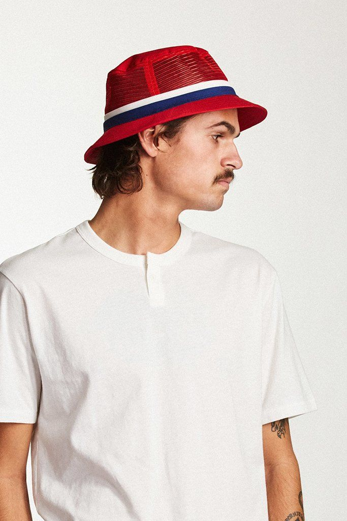 8be1c301af0d5 BRIXTON HARDY BUCKET HAT Red   Navy