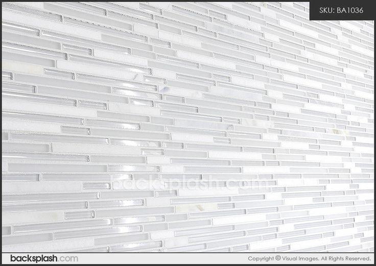 White Marble U0026 Glass Backsplash Tile