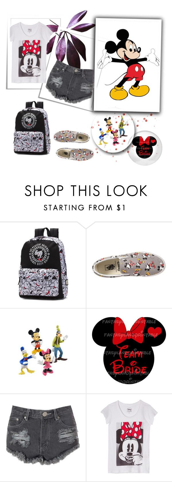 """Disney"" by nermina-okanovic ❤ liked on Polyvore featuring Vans, Disney, Glamorous, ElevenParis and disneycharacter"